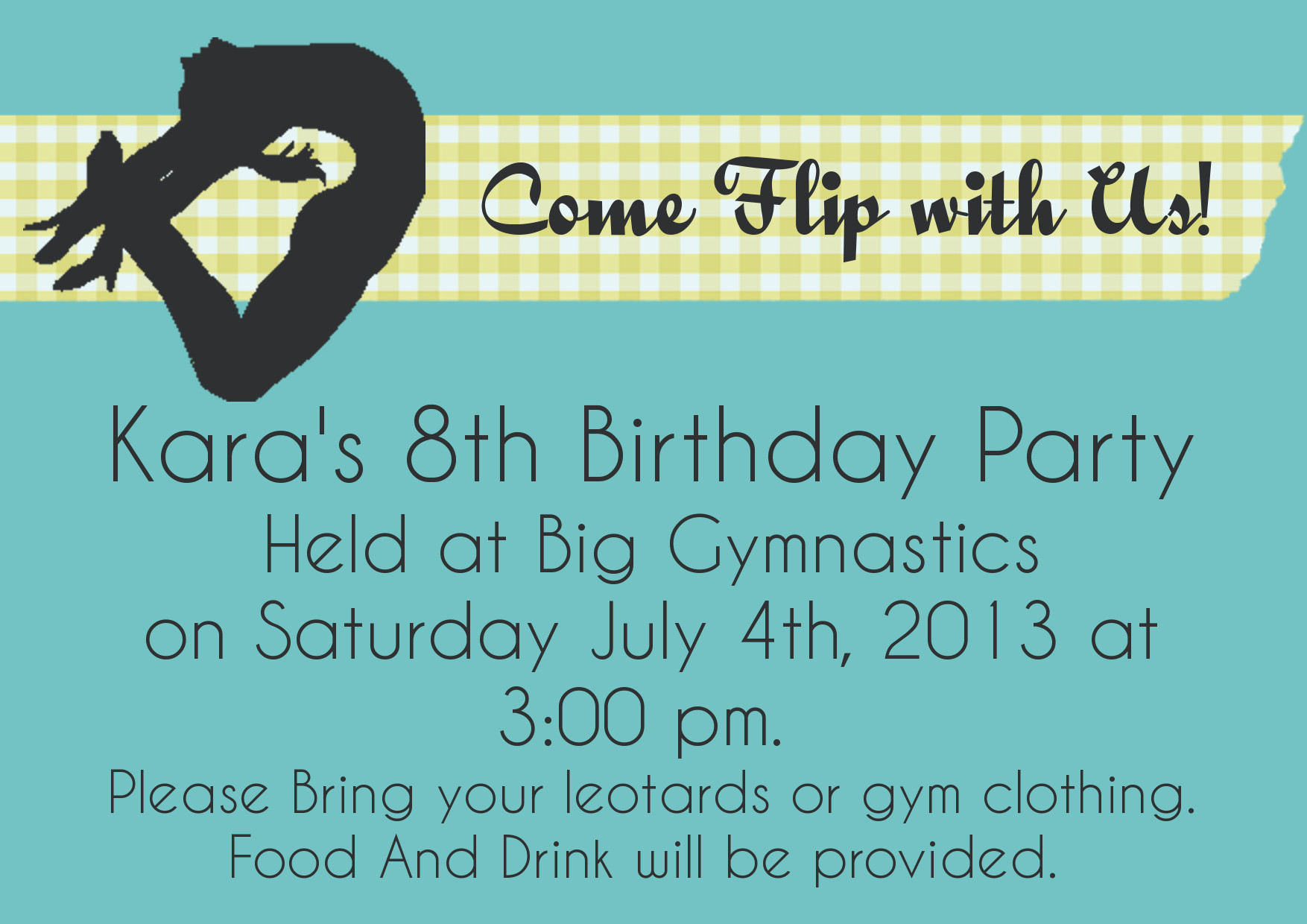 Gymnastics Birthday Invitation Tutorial | The Hand X Stand